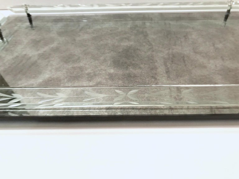 1940s Venetian Art Deco Mirrored Vanity Tray in Antique Smoked Grey Glass For Sale 2