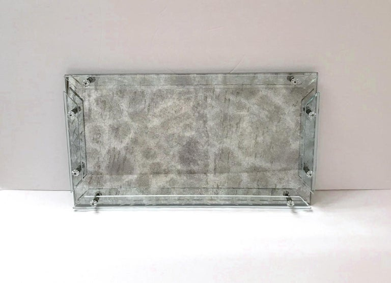 1940s Venetian Art Deco Mirrored Vanity Tray in Antique Smoked Grey Glass For Sale 3