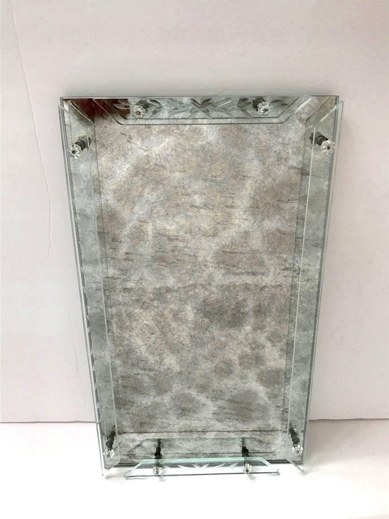 1940s Venetian Art Deco Mirrored Vanity Tray in Antique Smoked Grey Glass In Good Condition For Sale In Fort Lauderdale, FL