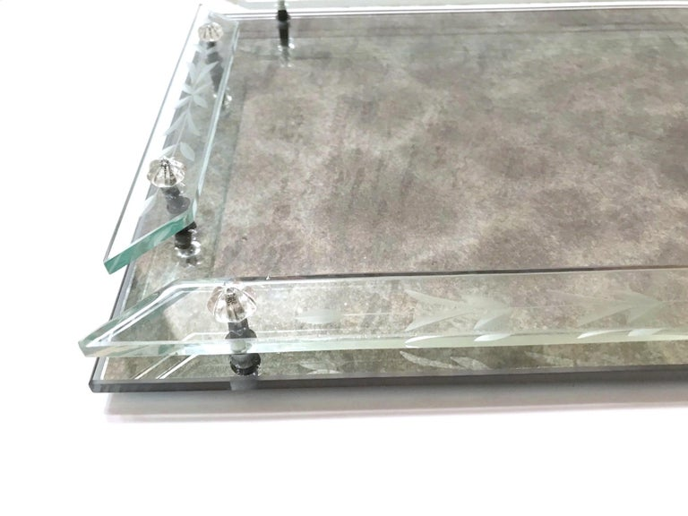 Art Glass 1940s Venetian Art Deco Mirrored Vanity Tray in Antique Smoked Grey Glass For Sale