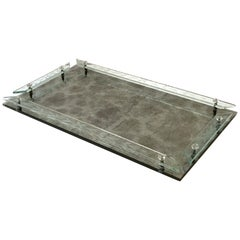 1940s Venetian Art Deco Mirrored Vanity Tray in Antique Smoked Grey Glass