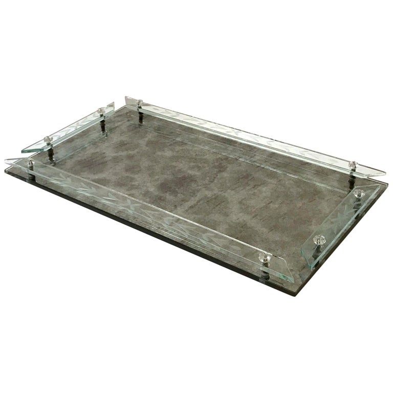 1940s Venetian Art Deco Mirrored Vanity Tray in Antique Smoked Grey Glass For Sale