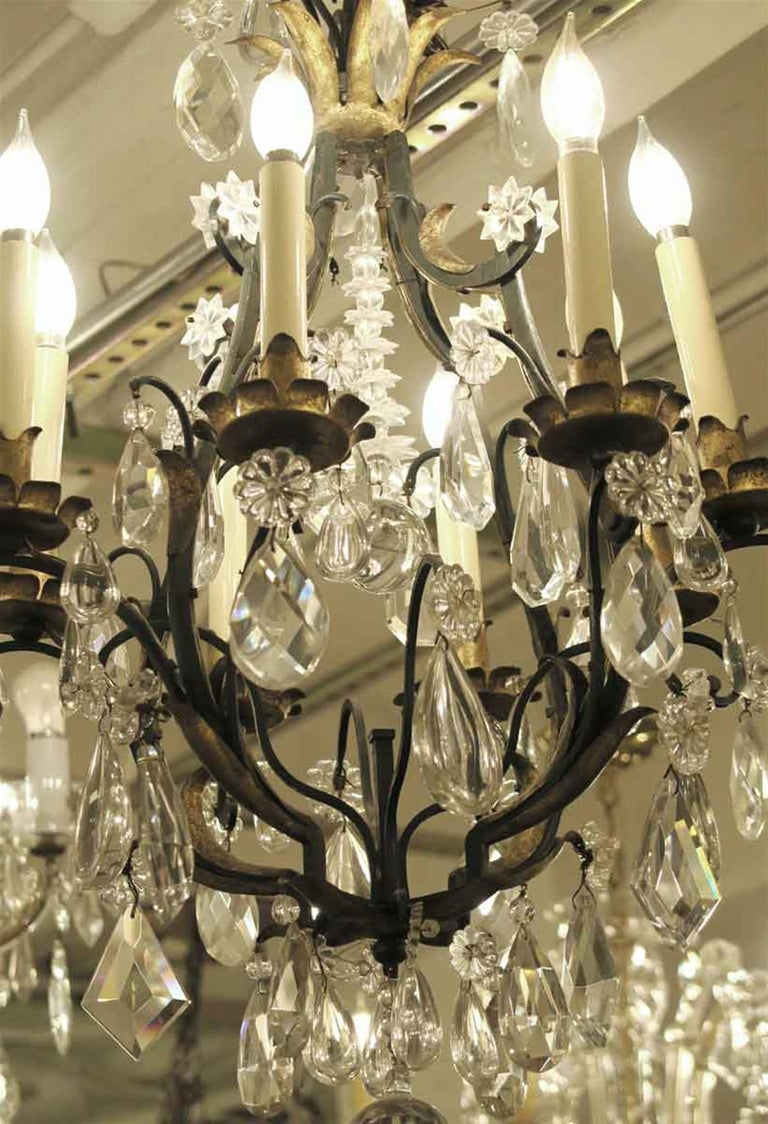 1940s Venetian Iron 6 Light Chandelier with Heavy Cut Crystals and Gilded Leaves In Good Condition For Sale In New York, NY