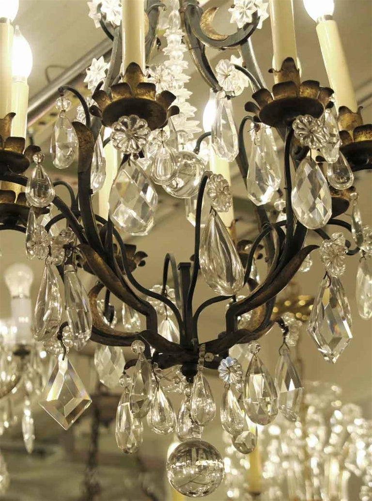 1940s Venetian Iron 6 Light Chandelier with Heavy Cut Crystals and Gilded Leaves For Sale 1