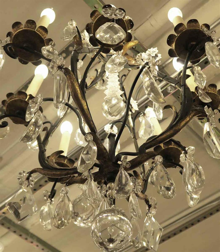 1940s Venetian Iron 6 Light Chandelier with Heavy Cut Crystals and Gilded Leaves For Sale 2
