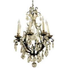 1940s Venetian Iron 6 Light Chandelier with Heavy Cut Crystals and Gilded Leaves