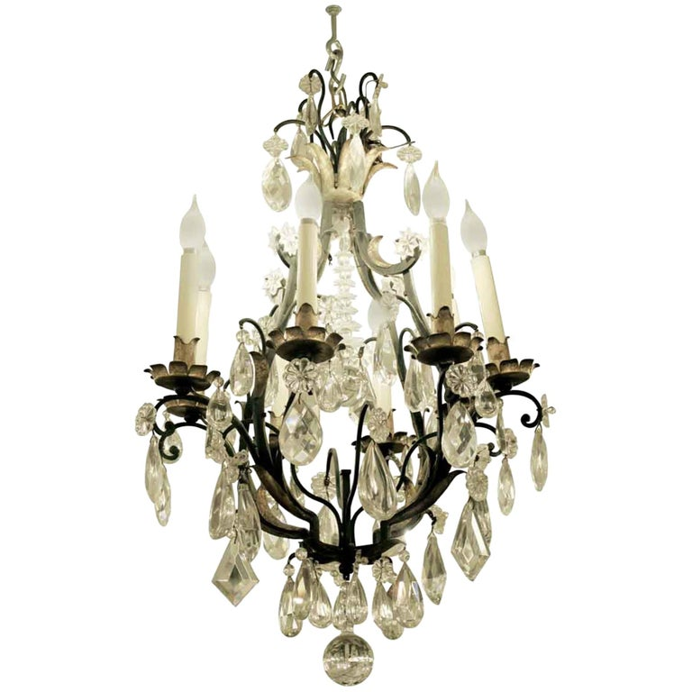 1940s Venetian Iron 6 Light Chandelier with Heavy Cut Crystals and Gilded Leaves For Sale