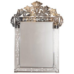 1940s Venetian Mirror with Bevel and Chain Detailing and Floral Motifs