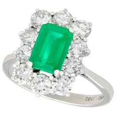 1940s Vintage 1.57 Carat Emerald and 1.72 Carat Diamond White Gold Cluster Ring