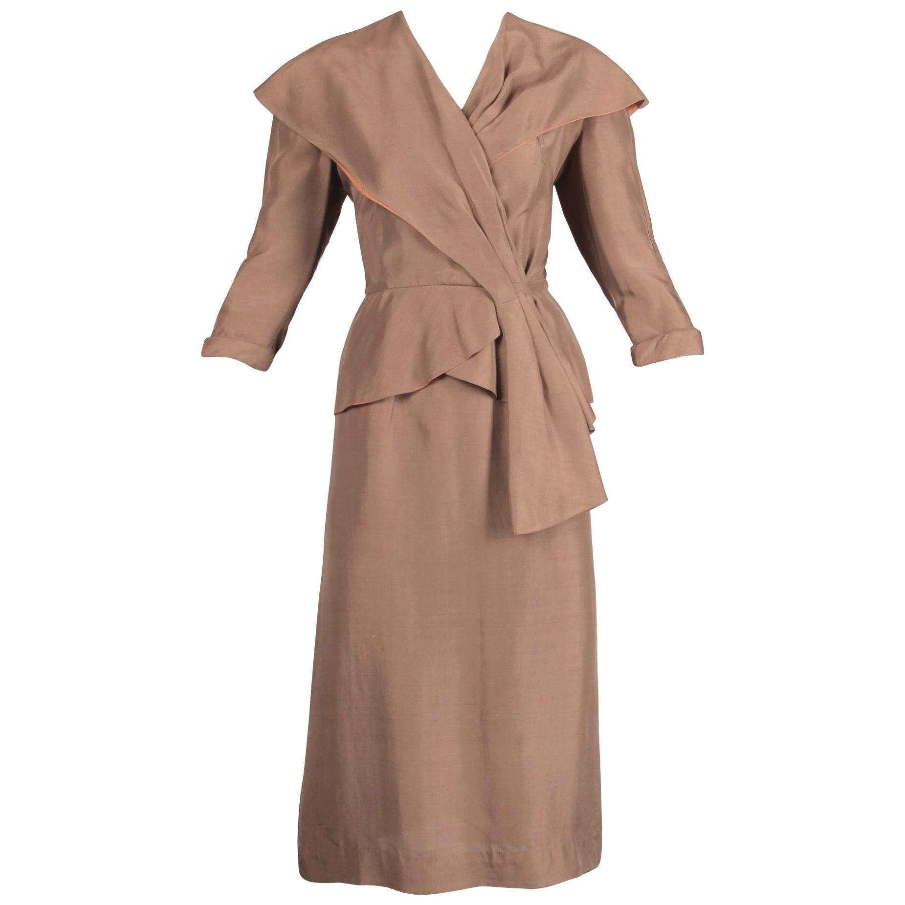 1940s Vintage Asymmetric Beige Silk 2-Piece Jacket + Skirt Women's Suit Ensemble