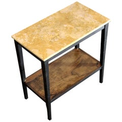 1940s Vintage Consolle, with Travertine Marble Top