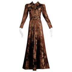 1940s Vintage Copper Brown Floral Jacquard House Dress or Robe Duster Coat/ Belt