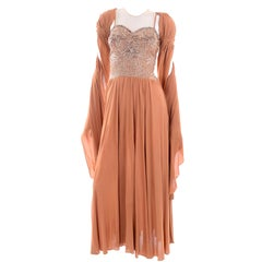 1940s Vintage Copper Peach Sequin Illusion Bodice Evening Dress & Shawl Wrap
