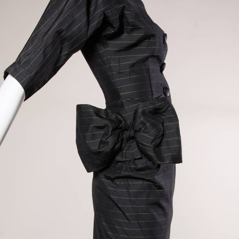 Black 1940s Vintage Couture Silk & Wool Pin Striped Jacket + Skirt Suit Ensemble For Sale