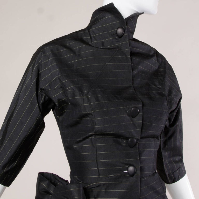 1940s Vintage Couture Silk & Wool Pin Striped Jacket + Skirt Suit Ensemble For Sale 1