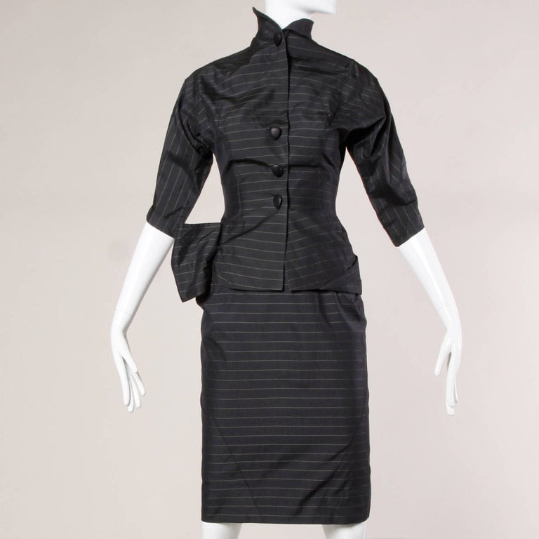 1940s Vintage Couture Silk & Wool Pin Striped Jacket + Skirt Suit Ensemble For Sale 2