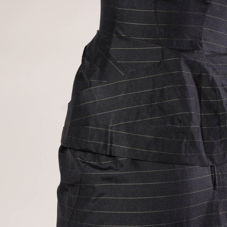 1940s Vintage Couture Silk & Wool Pin Striped Jacket + Skirt Suit Ensemble For Sale 4