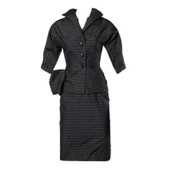 1940s Vintage Couture Silk & Wool Pin Striped Jacket + Skirt Suit Ensemble