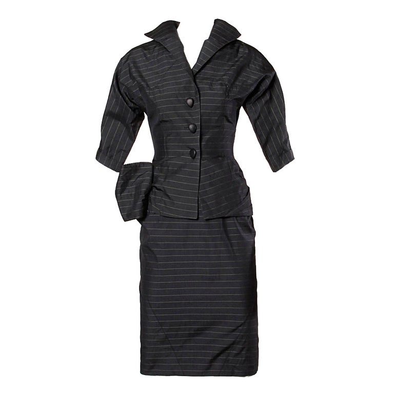 1940s Vintage Couture Silk & Wool Pin Striped Jacket + Skirt Suit Ensemble For Sale