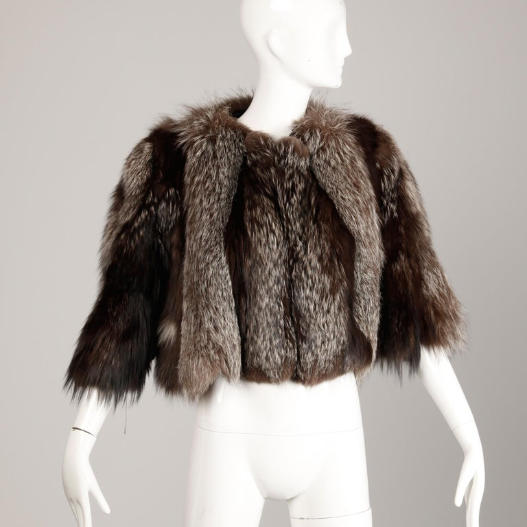 Black 1940s Vintage Crystal Fox Fur Cape or Jacket For Sale