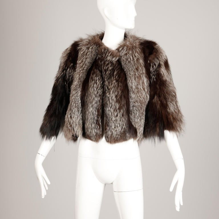 1940s Vintage Crystal Fox Fur Cape or Jacket For Sale 1