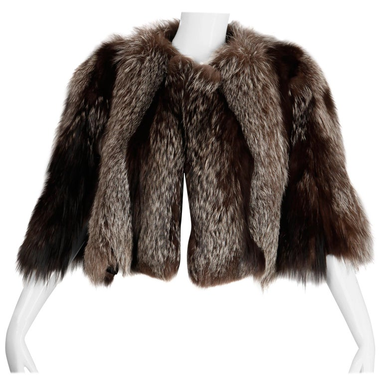 1940s Vintage Crystal Fox Fur Cape or Jacket For Sale
