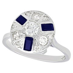 1940s Vintage Diamond and Sapphire White Gold Dress Ring