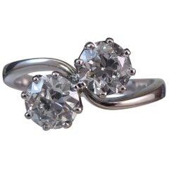 1.23 Carat Diamond Moi et Toi Engagement Ring Early Brilliant Cut Diamonds