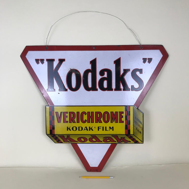 Mid-Century Modern 1940s Vintage Double-Sided Triangular French Metal Enamel Kodaks Sign For Sale