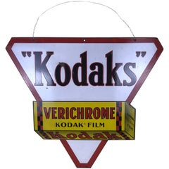 1940s Vintage Double-Sided Triangular French Metal Enamel Kodaks Sign