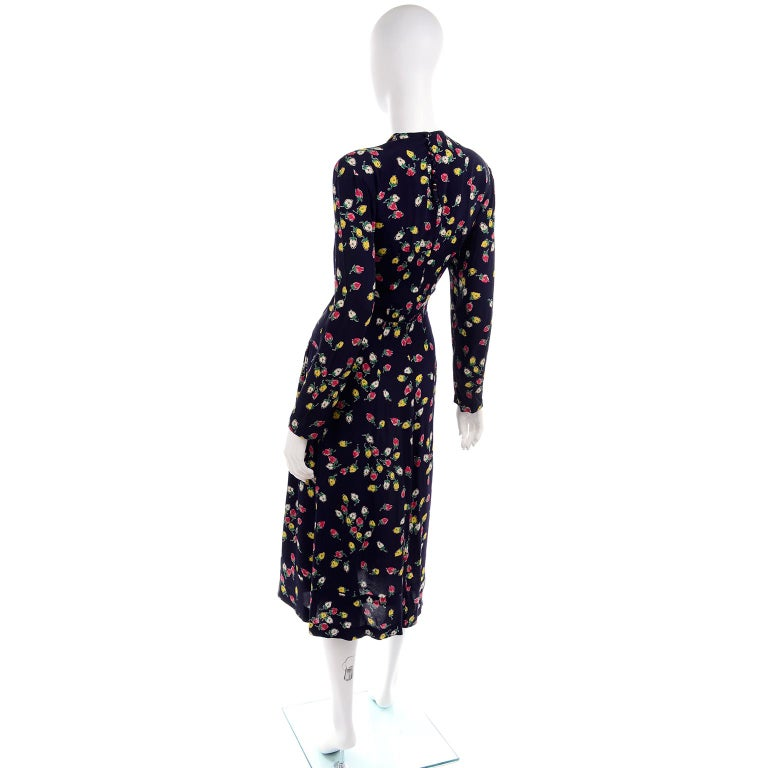 1940s Vintage Dress in Navy Blue Pink & Yellow Rosebud floral Rayon Print For Sale 2