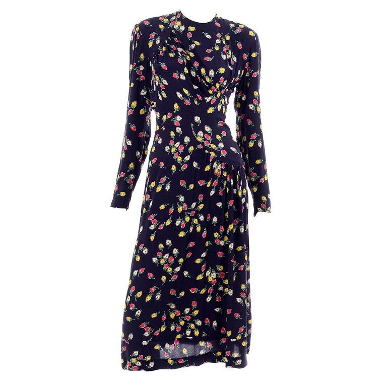 1940s Vintage Dress in Navy Blue Pink & Yellow Rosebud floral Rayon Print For Sale