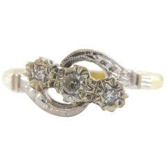 1940s Vintage Engagement Ring, Diamond Cross Over Twist Shoulders