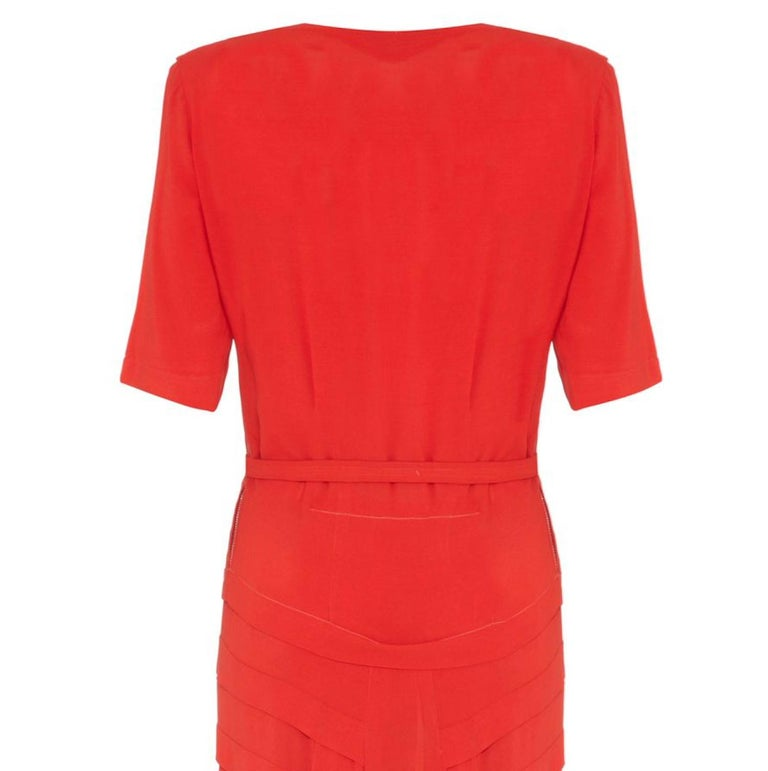 1940s Vintage Floor Length Coral Wool/Rayon Crepe Tiered Dress With Bow  In Excellent Condition For Sale In London, GB