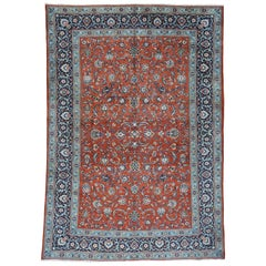1940s Vintage Hand Knotted Persian Kashan Full Pile All-Over D Rug