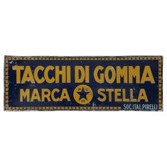 "1940s Vintage Italian Tin Sign ""Tacchi di Gomma"" or ""Rubber Heel"" by Pirelli"