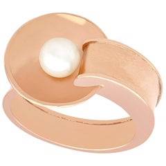 1940s Vintage Pearl and Rose Gold Ring