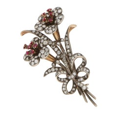 1940s Vintage Ruby and Diamond Lily Bouquet Brooch Set in Silver and Gold