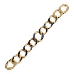 1940s Vintage Seaman Schepps Sapphire Gold Link Bracelet