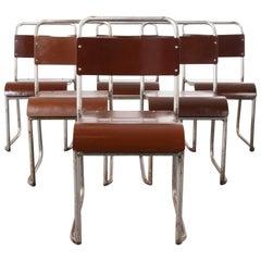 1940s Vintage Stacking Bakelite Seat Dining Chair, Set of Six