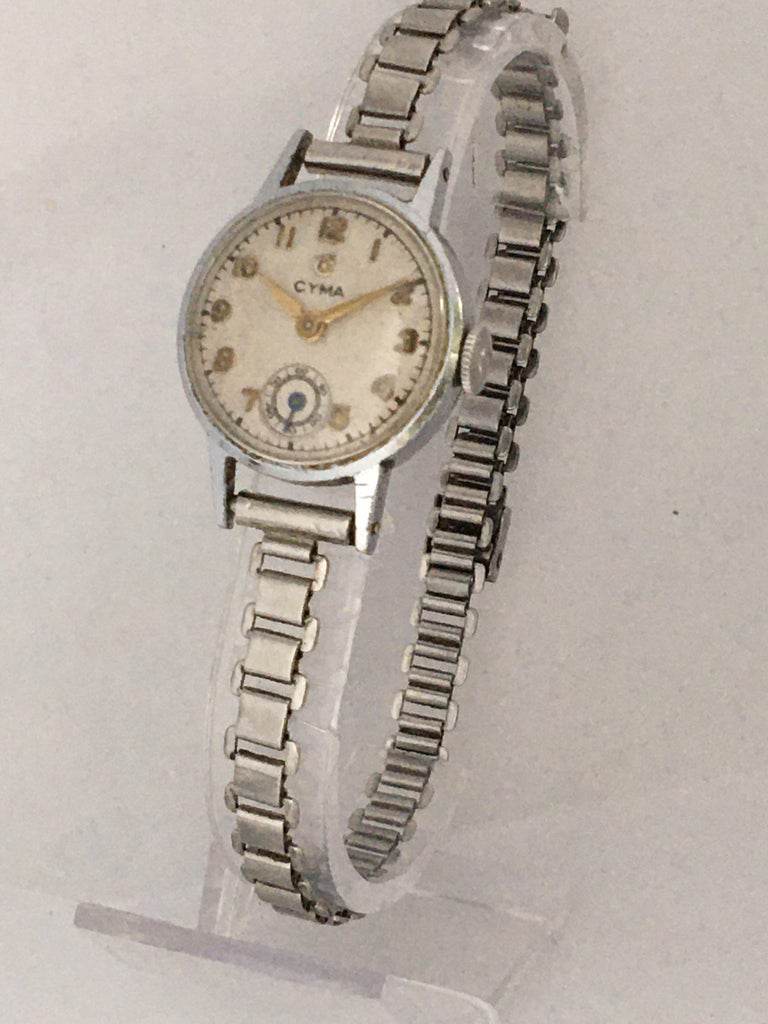 1940s Vintage Stainless Steel Ladies Cyma Mechanical Watch For Sale 6