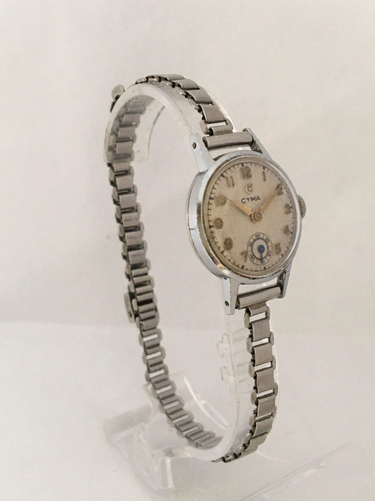1940s Vintage Stainless Steel Ladies Cyma Mechanical Watch For Sale 7