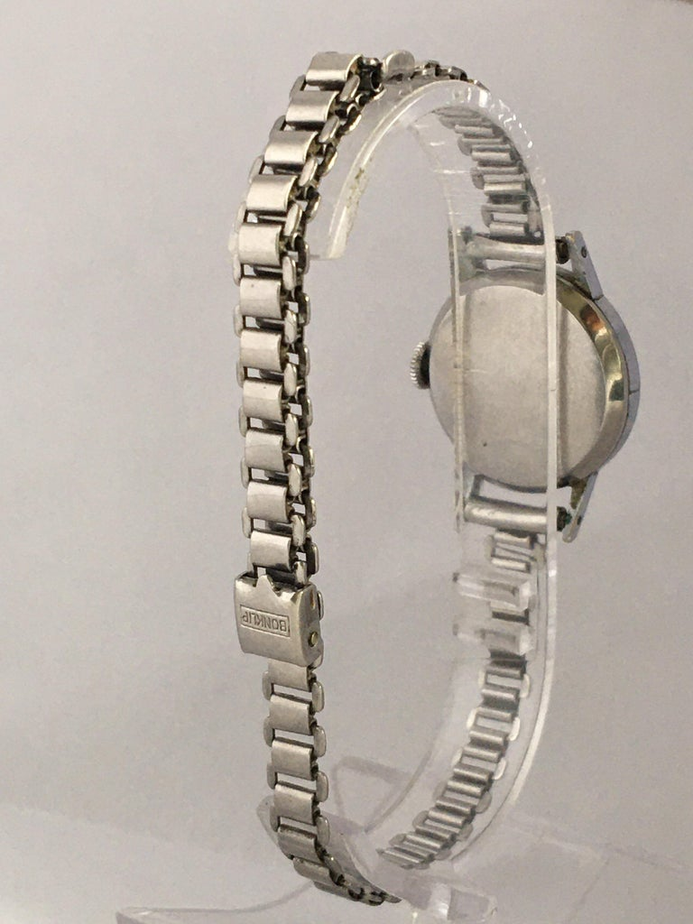 Women's or Men's 1940s Vintage Stainless Steel Ladies Cyma Mechanical Watch For Sale