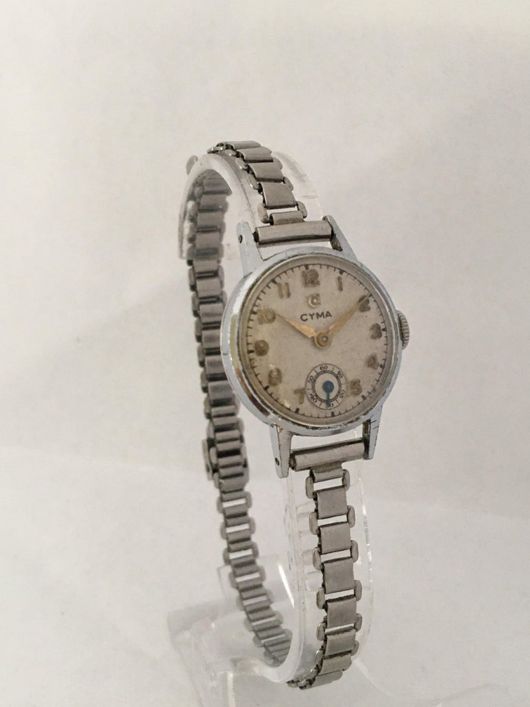 1940s Vintage Stainless Steel Ladies Cyma Mechanical Watch For Sale 1