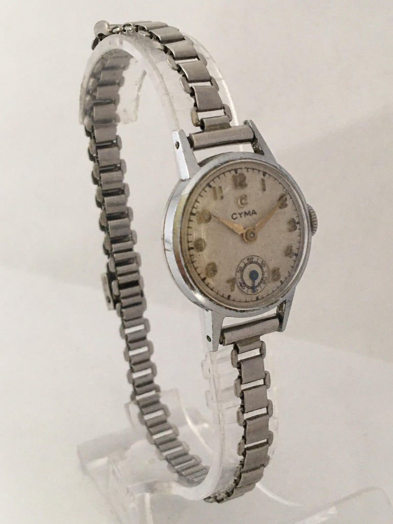 1940s Vintage Stainless Steel Ladies Cyma Mechanical Watch For Sale 5
