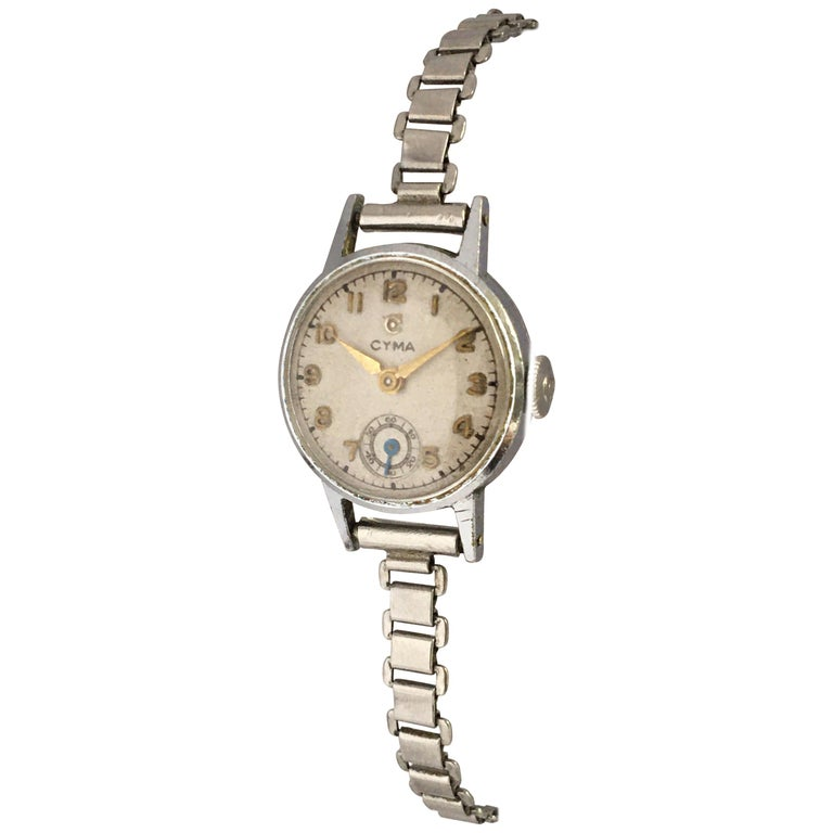 1940s Vintage Stainless Steel Ladies Cyma Mechanical Watch For Sale