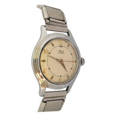 1940s Vintage Steel and Stainless Steel Back Avia Mechanical Watch