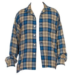 1940S VIYELLA Blue, White & Black Wool/Cotton Plaid Long Sleeve Shirt