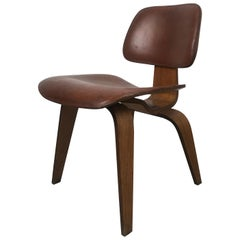 1940s Walnut and Leather DCW Chair by Charles & Ray Eames