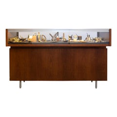 1940s Walnut Storage and Display Cabinet with Illuminated Glass Vitrine